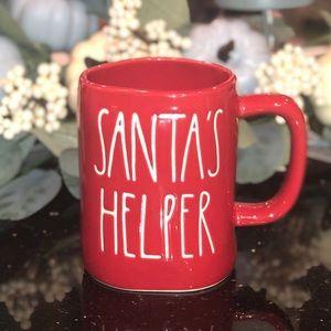 "Rea Dunn ""SANTA'S HELPER"" red mug coffee tea"